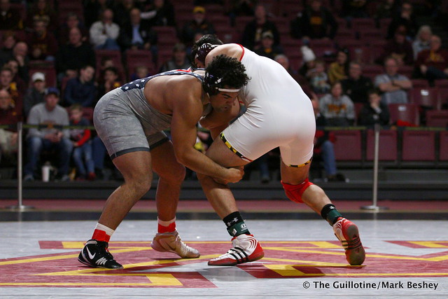 HWT: #1 Gable Steveson (Minnesota) dec. #9 Yousiff Hemida (Maryland) 7-3. 190210BMK0124
