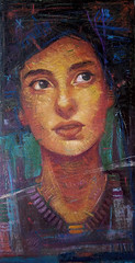 She is, olio su tela, 25x50 cm, 2019