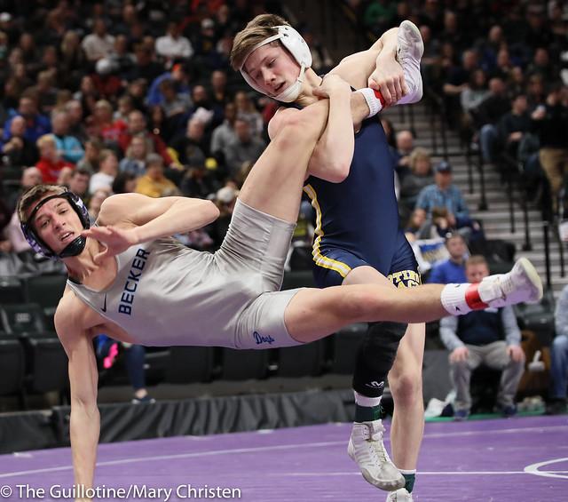 126AA Semifinal - Jake Svihel (Totino-Grace) 57-0 won by tech fall over Jake Nelson (Becker) 42-5 (TF-1.5 5:28 (23-8)). 190302AMC3186