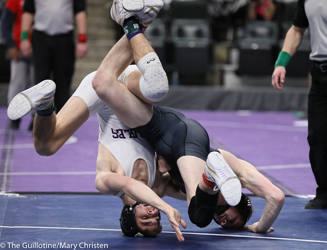 145AA 3rd Place Match - Sean Howk (New Ulm Area) 45-3 won in sudden victory - 1 over Payton Anderson (Fairmont-Martin County West) 45-9 (SV-1 4-2). 190302BMC3770