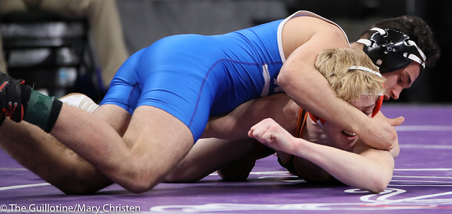 145AA Semifinal - Carlos Ruffo (Kasson-Mantorville) 22-5 won by decision over Tanner Kroells (Delano) 34-4 (Dec 11-9). 190302AMC3238