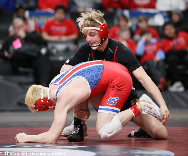 132AA 1st Place Match - Ryan Sokol (Simley) 51-0 won by fall over Charlie Pickell (Mankato West) 47-2 (Fall 5:56) - 190302BMC4396