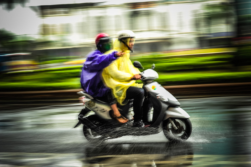 Scooter Pan in the Rain
