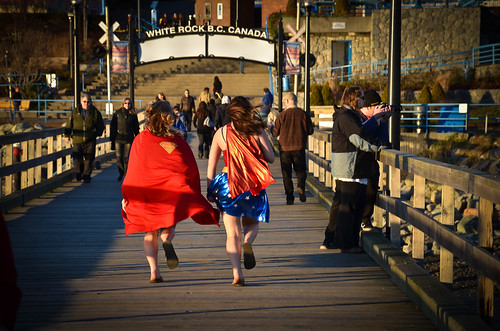 Supergirl and Wonder Woman running amok in White Rock