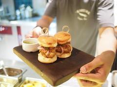 Iberico pork foie gras burger, smoked pulled shoulder, pickled cucumber. Esquina Tapas Bar, Jiak Chuan Road, Keong Saik, Tanjong Pagar