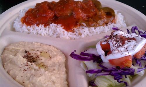 Eggplant Marga, Hummus and Salad