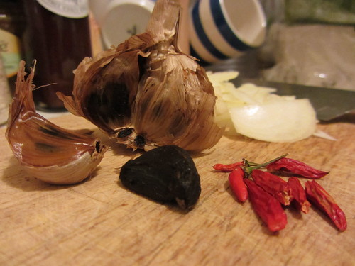 black garlic and mini chillies