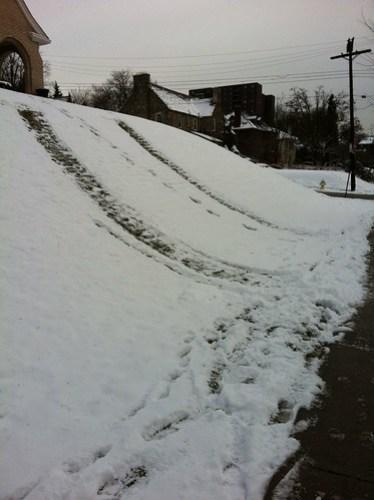 Signs of impromptu sledding.