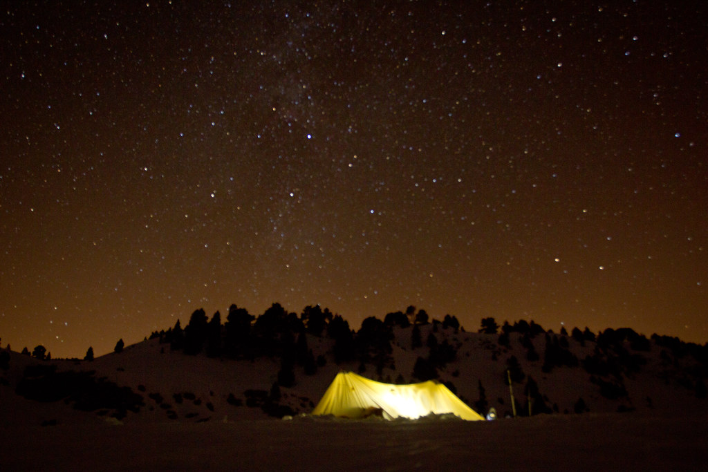 Winter tarping  under the Milky way