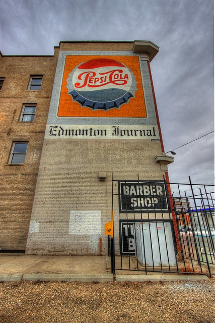 Old-timey Pepsi and Edmonton Journal building art
