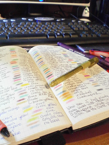 Computer keyboard in background with open journal page showing various color swatches of ink with pen names written beside them gold pen on top of journal