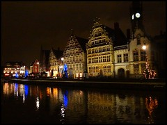 Graslei at night - Ghent in Christmas period
