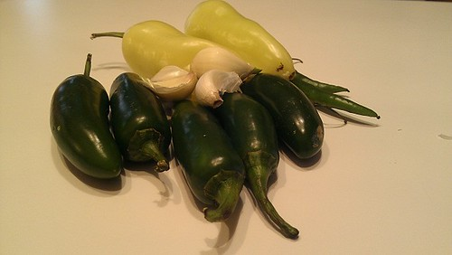 peppers and garlic segments