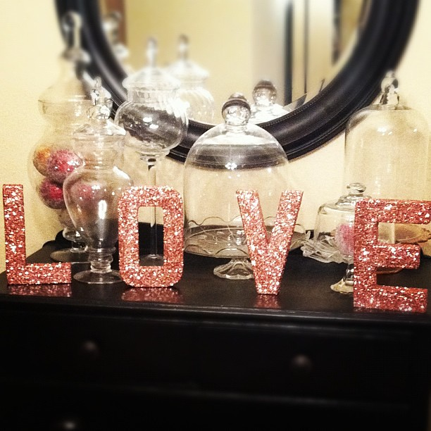 Glitter letters I made from Pinterest