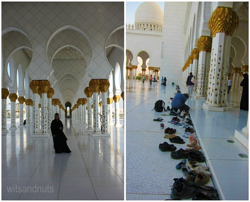 (L) My aunt in Sheikh Zayed Grand Mosque when she visited UAE in October 2011; (R) Footwear must be removed before entering the main hall