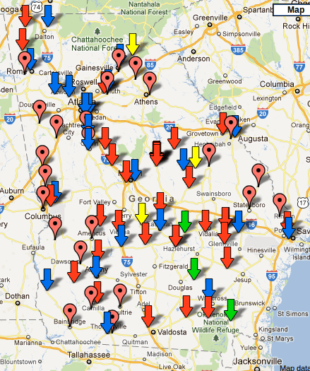 Map of prisons in georgia on the lake front i dont know if this map is current or accurate but the spot checks ive made show markers for real prisons did you know there were so many gumiabroncs Images