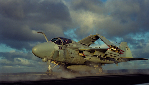 A-6E Intruder on the flight deck of CV-62