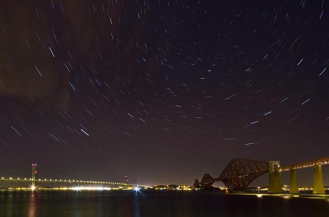 Forth Bridges Pano Star Trails