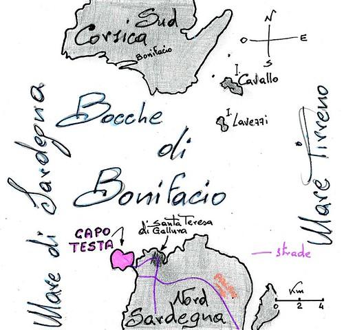 Ekomappa - collocazione di CapoTesta e le Bocche di Bonifacio