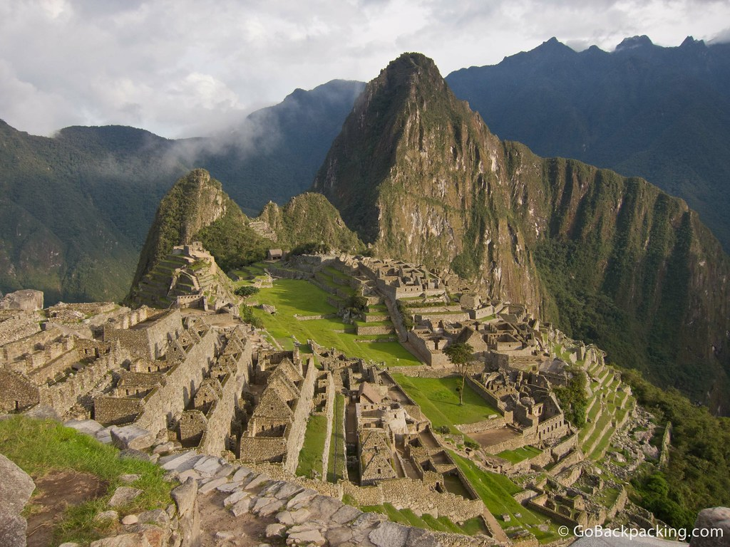 The classic view of Machu Picchu, with Wayna Picchu in the background