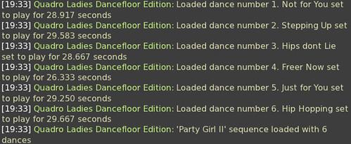 Quadro Ladies Dancefloor Edition Sequence Display Text