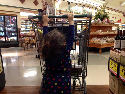 pushing the grocery cart