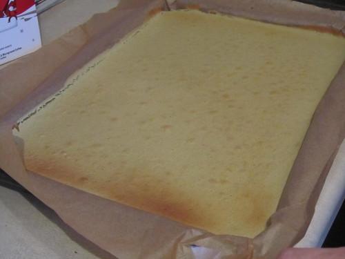 Making matcha & azuki roll cake