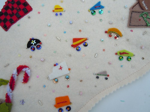 felt and beaded vehicles detail
