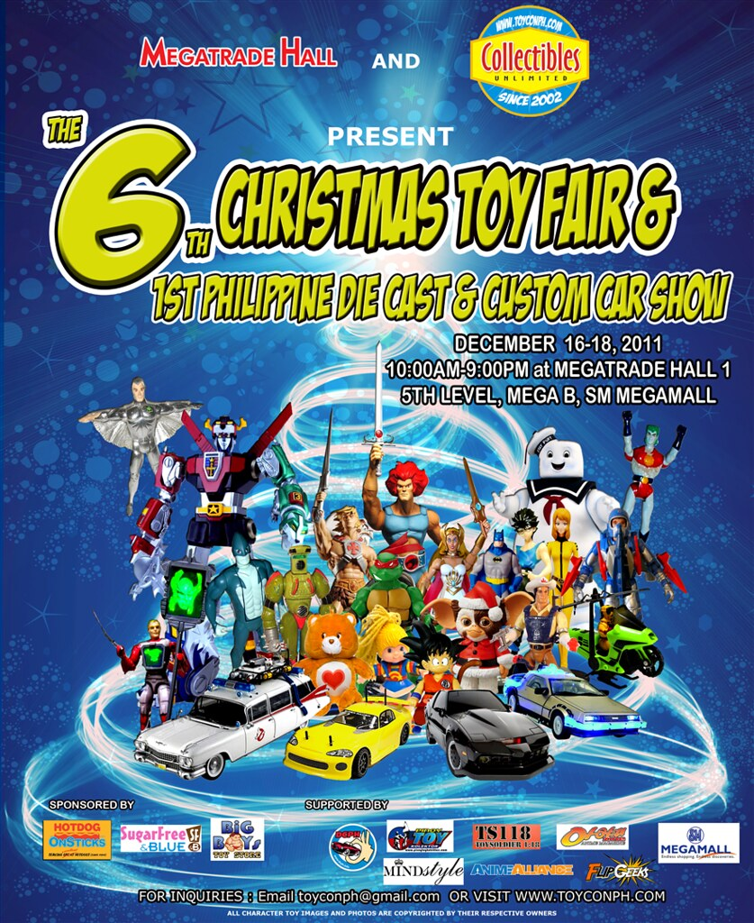 6th christmas toycon fair and first philippine die cast and custom car show 2011 poster megatrade hall mega b