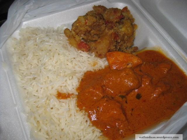 Butter chicken, basmati rice, potatoes