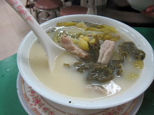 Pork Intestine and Pickled Vegetable Soup
