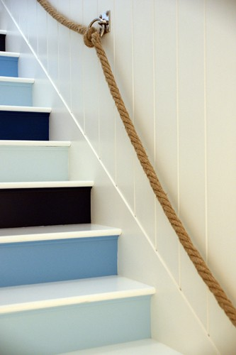 Staircases Stairs Jonathan Adler Beach House Nautical Themed White Paneled Walls Accents Statement Steps Home Decor Interior Design