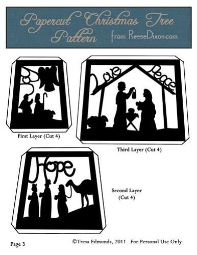Papercut Nativity Tree Pattern Page 3