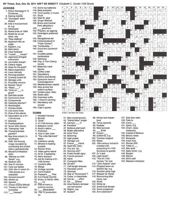 NYT Sunday Puzzle - December 25, 2011