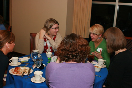Guests discuss food and farming during the CommonGround Kansas launch event on Jan. 7 in Lawrence.