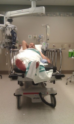 Rick in the ER after his fall