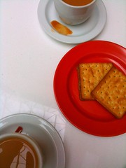 Tea and kaya cream crackers