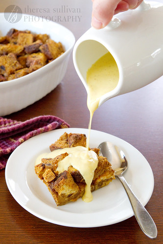 Gingerbread Bread Pudding with Eggnog Bourbon Sauce
