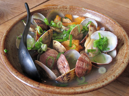 Baby Clams and Girolles Steamed in Sake