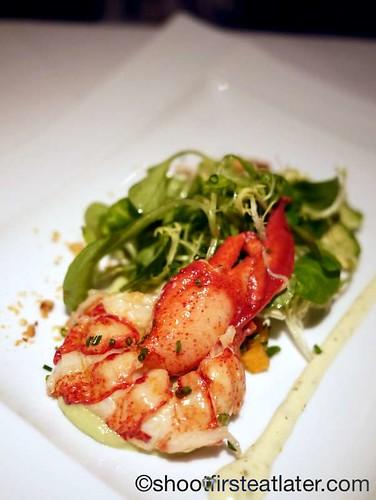 lobster salad with persimmons, mango, avocado, cashews & lime cilantro remoulade