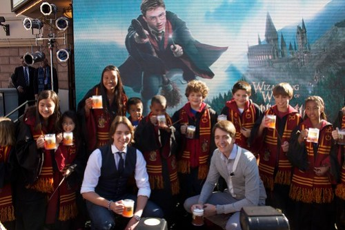 Butterbeer toast at Harry Potter announcement with Phelps twins