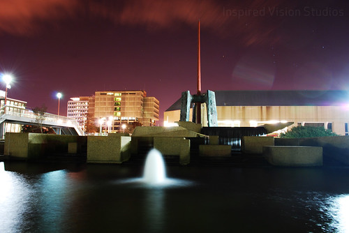 Water Front Fountain at Night