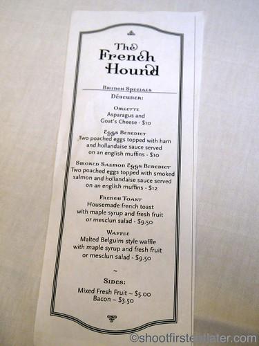 The French Hound brunch specials