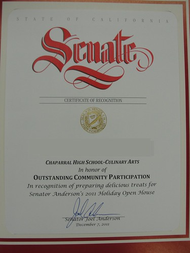 Certificate of Recognition by Chaparral Culinary Arts