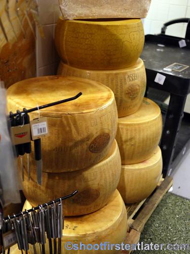 Eataly NYC- wheels of Parmegiano Reggiano