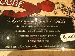 Sides menu, Brasserie Gavroche, 66 Tras Street, Singapore