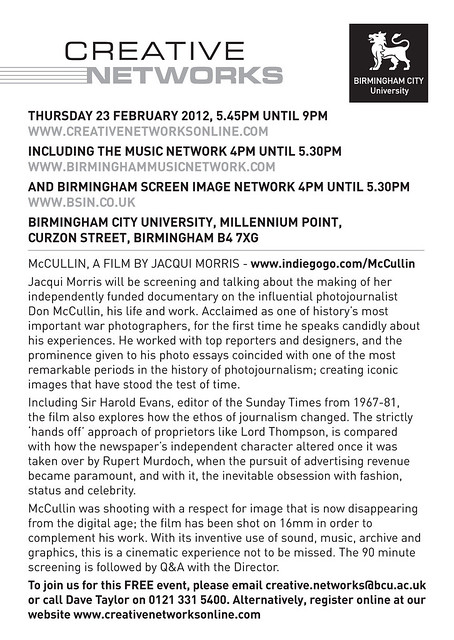 Creative Networks Thursday 23rd February 2012 Birmingham