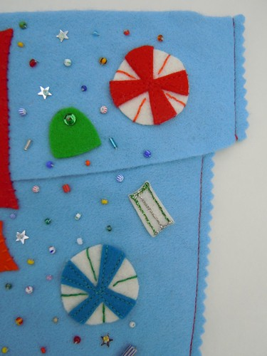 Felt candy and beading detail