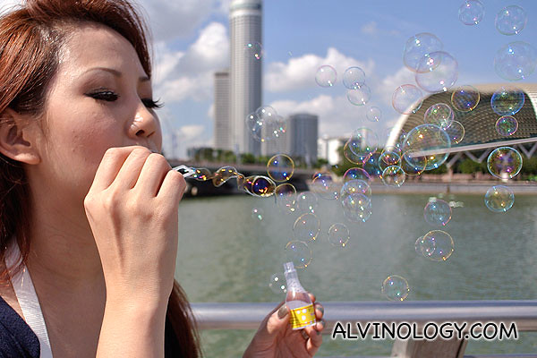 Clara blowing bubbles