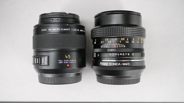 Size comparison: PL 45mm f1.8 Elmarit vs. Konica Hexanon 50mm f1.4 w/adapter